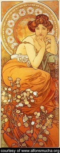 Topaz. From The Precious Stones Series, 1900 - Alphonse Maria Mucha - www.alfonsmucha.org