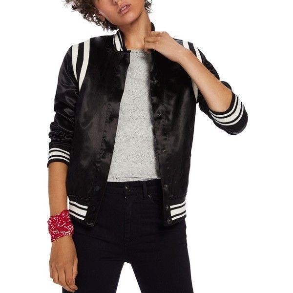 Scotch & Soda Felix Varsity Jacket ($240) ❤ liked on Polyvore featuring outerwear, jackets, black, shiny jacket, varsity jackets, varsity style jacket, college jacket and varsity-style bomber jacket