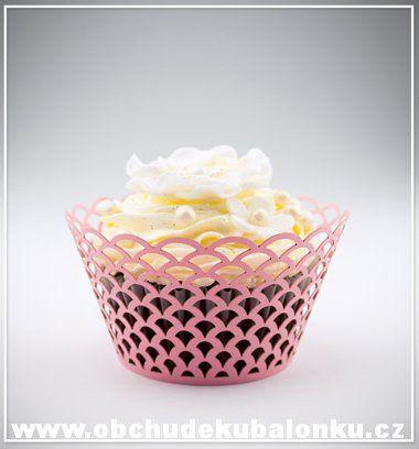 Papír. krajkové košíčky - obaly na cupcakes kopečky - růžové