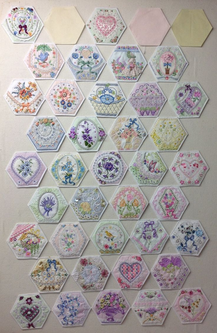 Auditioning Hexies To Determine How To Assemble, Picture 1 Of 3, By Kay Lea  · Hexagon Quiltingcrazy Quiltinghexagonsembroidery