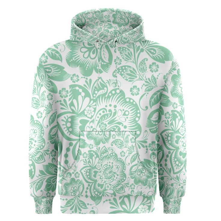 Mint+green+And+White+Baroque+Floral+Pattern+Men's+Pullover+Hoodies