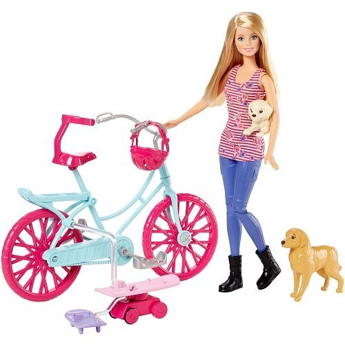 """Toys """"R"""" Us - Barbie and Her Sisters in The Great Puppy Adventure Barbie and Bicycle Playset"""
