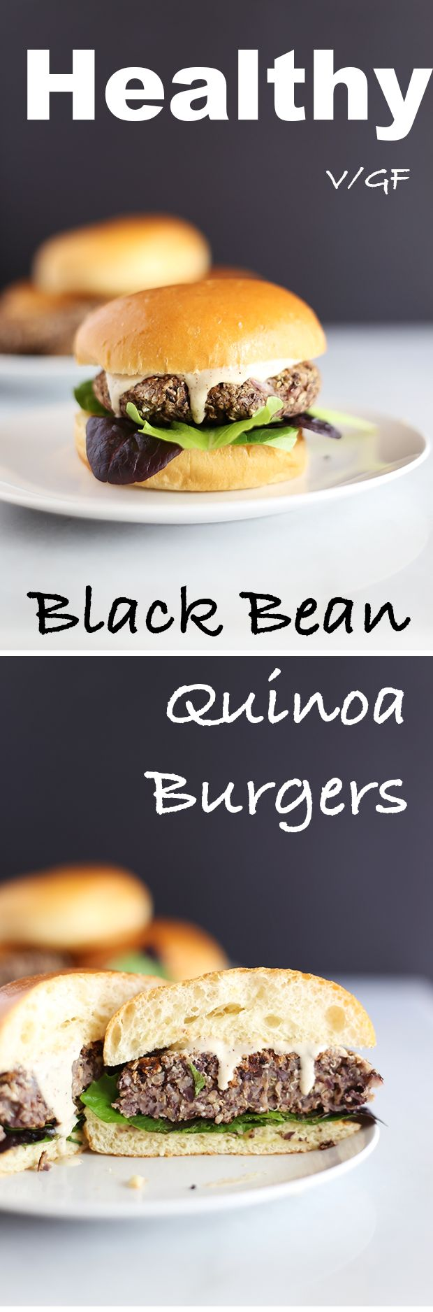 These Healthy Black Bean Quinoa Burgers are super easy to make! They are made with quinoa, oats, onions mushrooms and black beans! Vegan and GF! | TwoRaspberries.com