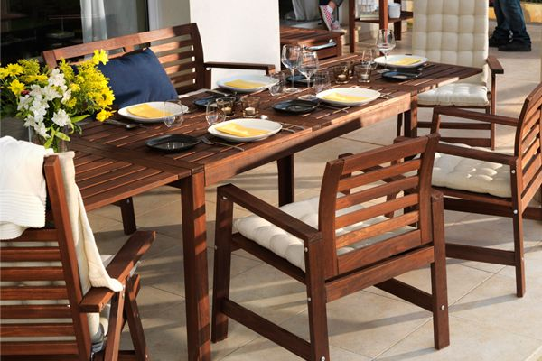 Wood ikea outdoor table 400 includes 4 low back chairs for Applaro chaise lounge