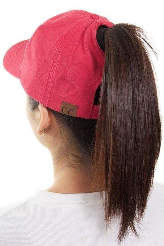 Monogrammed Solid Cotton Back High Ponytail Cap ponytail  a32b3c1d43a6