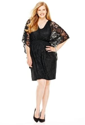 Avenue Plus Size Lace Kimono Sleeve Dress by plussizeshopy