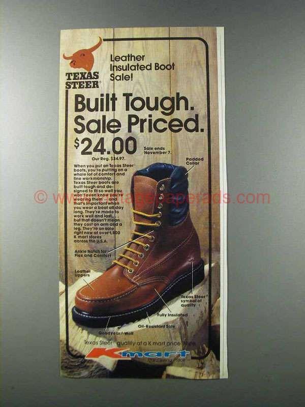 fc5e0a623c2 1981 Kmart Texas Steer Boots Ad - Built Tough | Vintage Men's Shoes ...