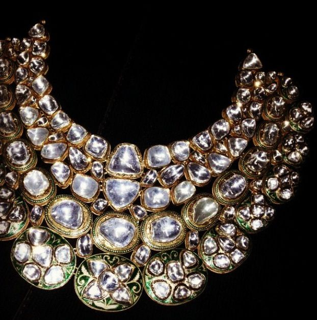 Polki necklace of uncut diamonds.