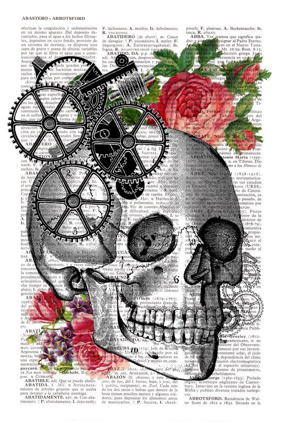 Skull Book Print Upcycled Dictionary book page Human by PRRINT
