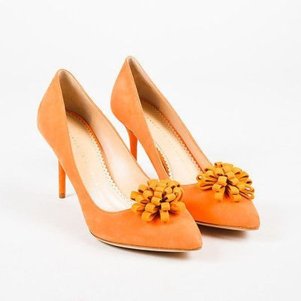 """Pre-Owned Charlotte Olympia Nib """"""""Tangerine""""""""Orange Suede Rosette... (2.397.780 IDR) ❤ liked on Polyvore featuring shoes, pumps, orange, pointed toe high heel pumps, high heeled footwear, high heel stilettos, orange suede pumps and orange high heel shoes"""