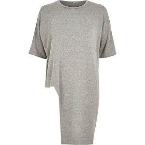 Grau meliertes T-Shirt mit asymmetrischem Saum