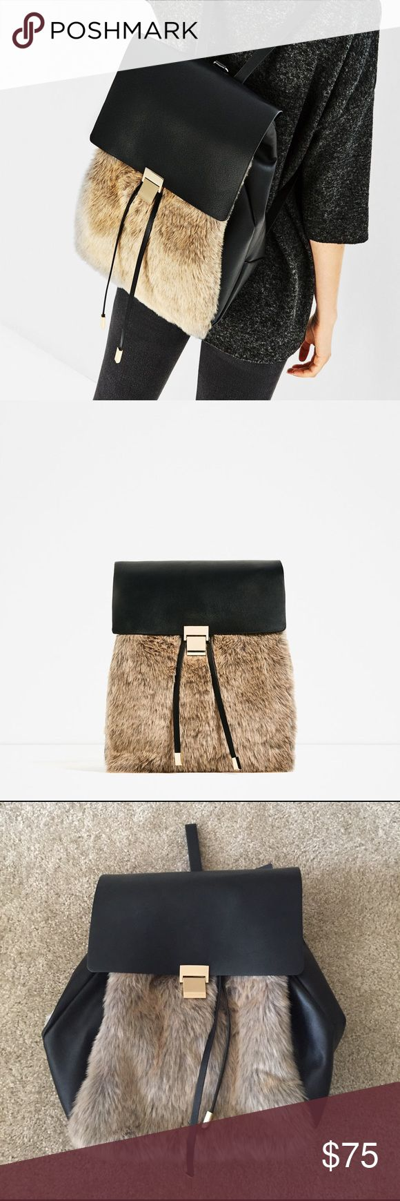 NWT Zara Leather Fur Backpack NWT. very on trend with the use of leather and fur. Fur reminds me of the Gucci fur/leather shoes. Inner compartment. Zara Bags Backpacks