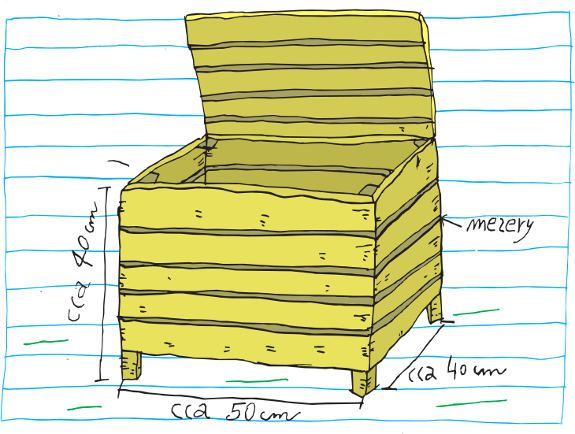 Obrázek kompostéru, kreslil R. Pospíšil