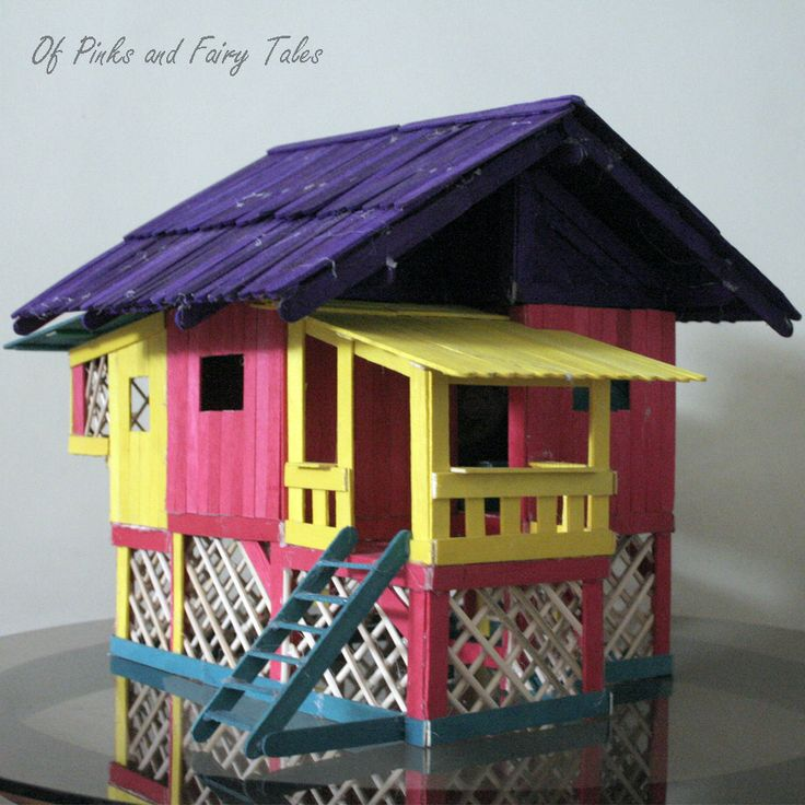 Popsicle Stick Houses Designs   Of Pinks and Fairy Tales: Doll House Project: Traditional Wooden House