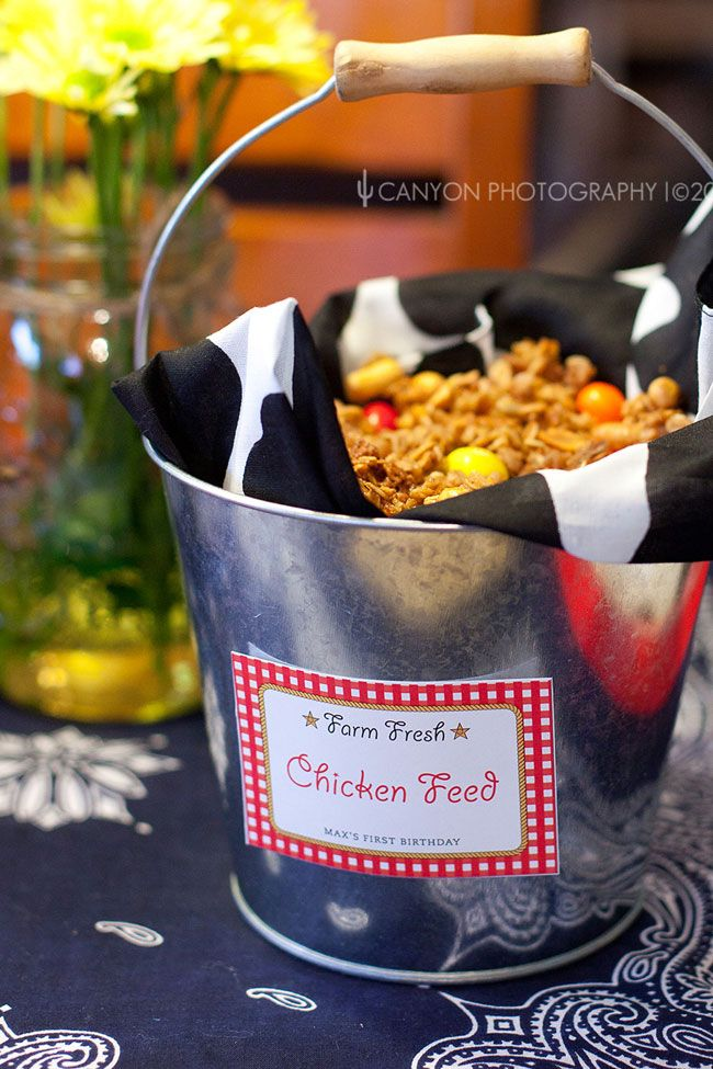 "Barnyard Theme: Chicken feed"" is the cutest thing! It's actually a granola mix with peanut M's added."