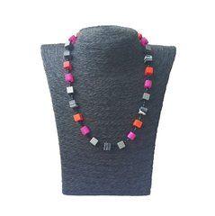 Cube necklace from IAMLUND polaris beads, semi precious stones, anodized aluminium and miyuki glass tubes