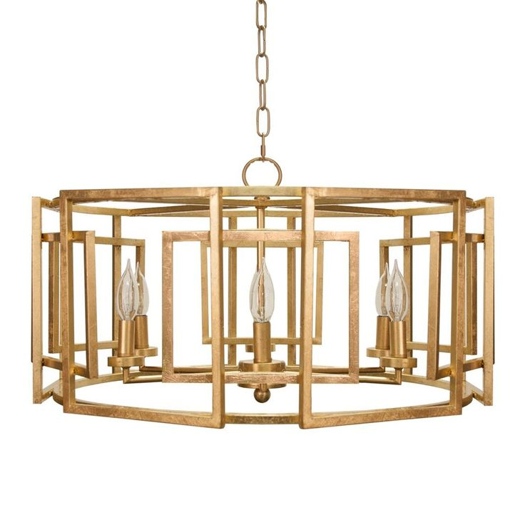 worlds away Square motif drum chandelier with 6 arm light in gold leaf.
