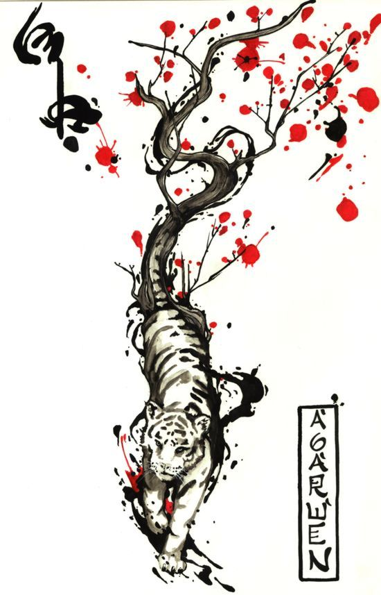 Wind Tiger Tattoo Desing By Agarwen @deviantart  If I Ever Get My Tiger Tattoo, This Is What I'd Want It To Look Similar Too. - Click for More...