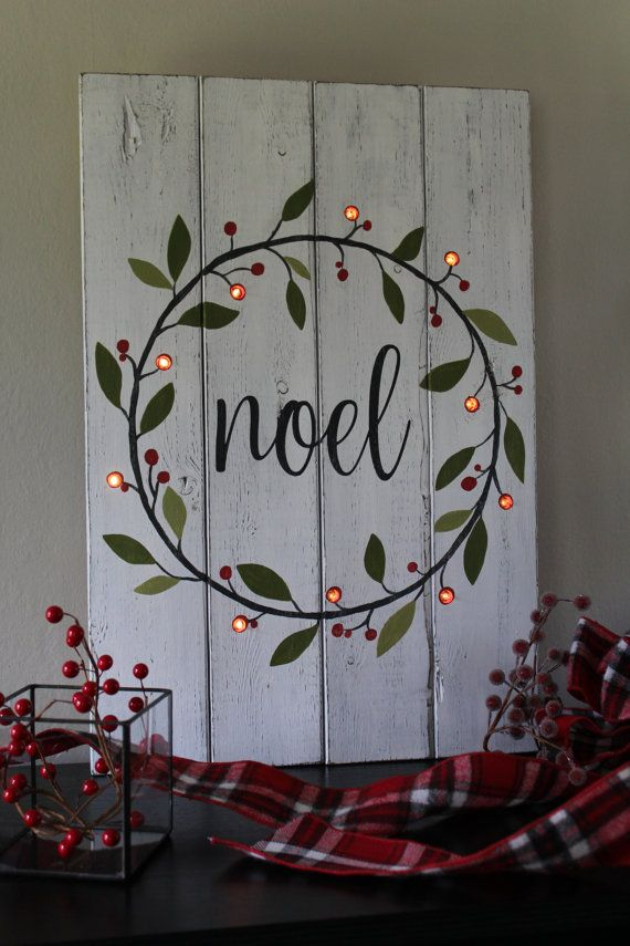 Noel Sign Lighted Christmas Sign Hand Painted Wood Sign Lighted Christmas Wreath Rustic Home Decor Mantle Decor Distressed Wood Gift (en anglais)