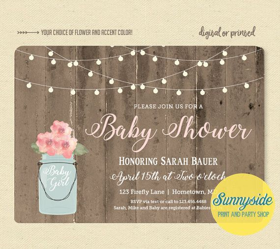 rustic baby girl shower invitation with barnwood lights and mason jar printable or printed invitations in blush pink