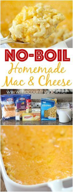 No-Boil Homemade Macaroni and Cheese recipe from The Country Cook. No boiling the noodles beforehand! And it's all made in one dish so it saves on dirty dishes. Our favorite!
