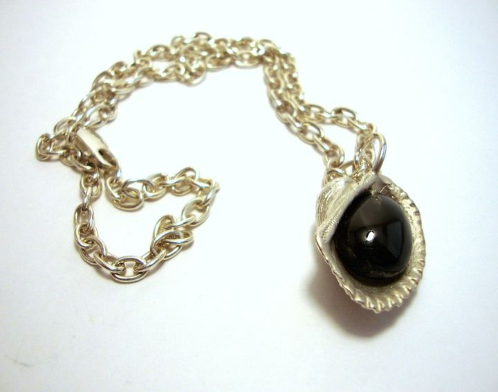 Silver Seashell Necklace With Black Moon Stone @ http://thesilveroom.com/index.php/necklaces/silver-seashell-necklace-black-moon-stone.html