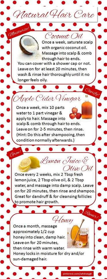 Hair regimen-coconut oil, apple cider vinegar, honey, lemon juice, etc....                                                                                                                                                     More