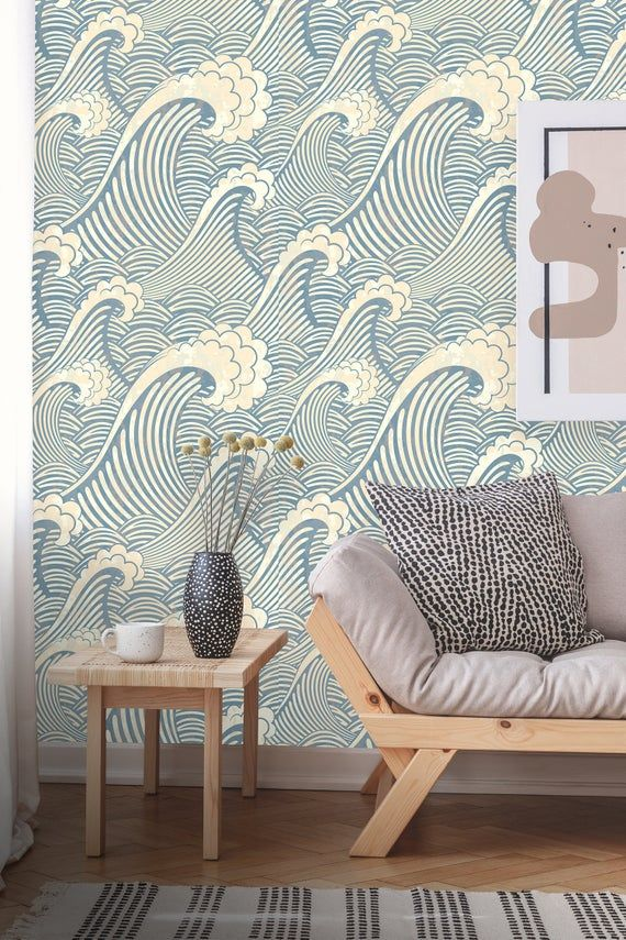 Removable Wallpaper Peel And Stick Great Wave Pattern Etsy Removable Wallpaper Waves Wallpaper Wall Wallpaper
