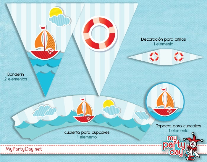 Printables for nautical party/ Imprimibles para fiesta marinera
