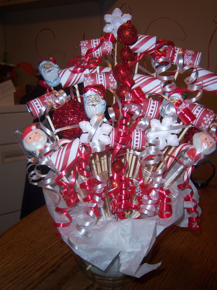 Christmas bouquet red white candy bouquets pinterest