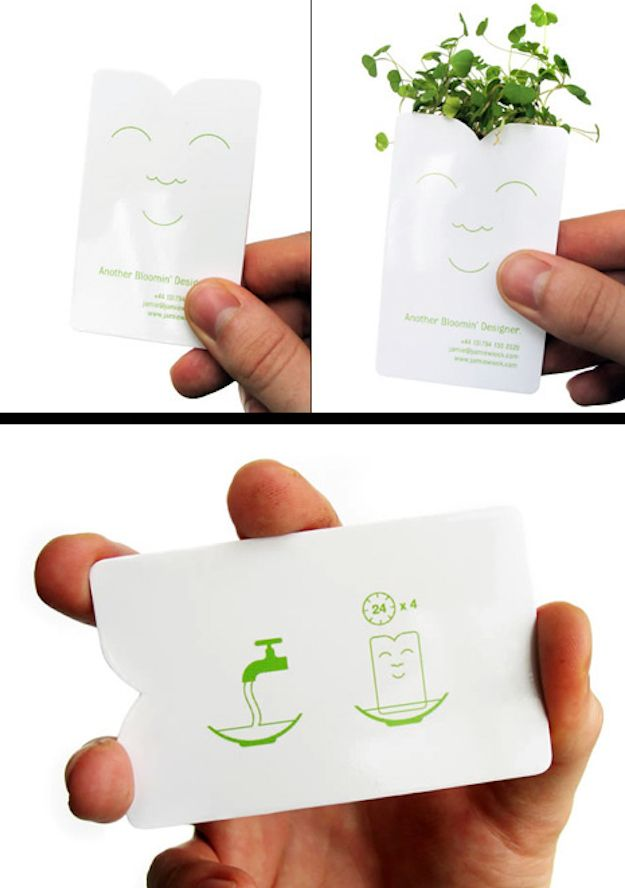 """This card by """"Another Bloomin' Designer"""" Jamie Wieck sprouts a mini plant after four days of soaking 