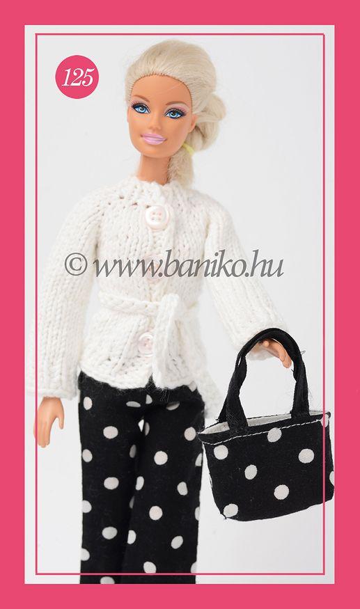 Kötött fehér Barbie kardigán övvel