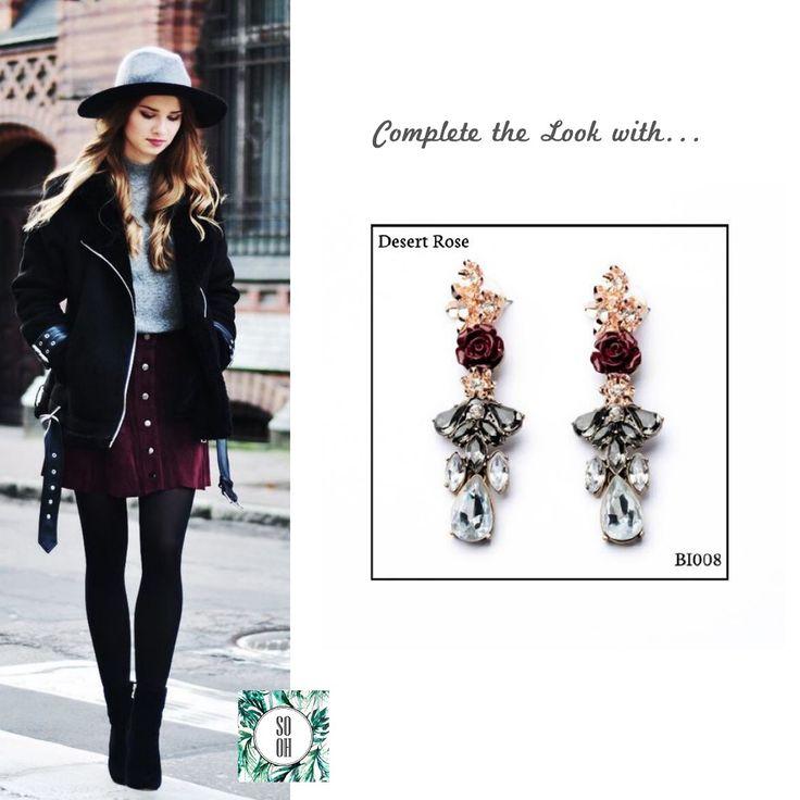 Ref: BI008 Desert Rose Medidas: 7.7 cm x 2.2 cm  So Oh: 11.99  #sooh_store #onlinestore #style #inspiration #styleinspiration #brincos #earrings #fashion #shoponline #aw2016 #aw1617 #winterstyle