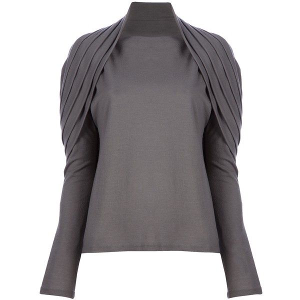 HAIDER ACKERMANN Shawl collar sweater (690 AUD) ❤ liked on Polyvore featuring tops, sweaters, future, wool top, woolen tops, haider ackermann sweater, pleated top and haider ackermann