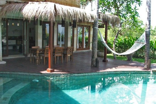spacious pool-side open dining area of Hillside Villa in Balangan Jimbaran bali
