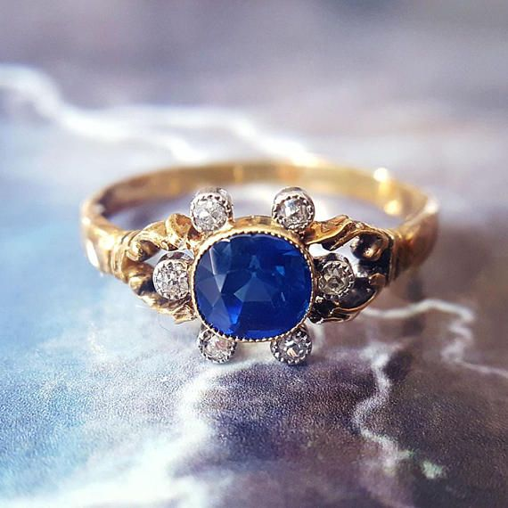 Victorian Sapphire ring antique engagement ring sapphire engagement ring   Victorian Sapphire and Diamond Ring in gold and platinum. Would make a delightfully unique antique engagement ring, or just a sweet addition to your ring stack!