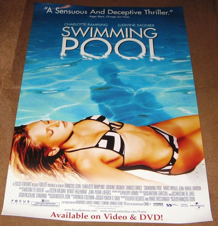 Swimming Pool Movie Poster 27x40 Used Marc Fayolle, Charles Dance, Jean-Marie Lamour, Mireille Mosse, Ludivine Sagnier, Jean-Claude Lecas, Frances Cuka, Charlotte Rampling