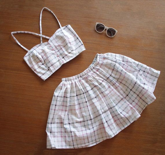 White and Pastel Pink, Green, and Orange  Tartan/ Plaid Crop and Skirt Twin Set 90s 80s 70s 60s riot grrrl