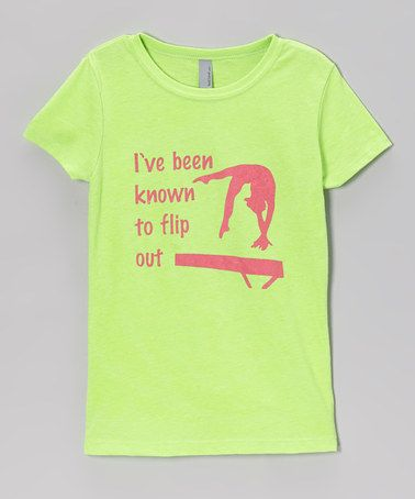 Love this Neon Green 'Flip Out' Tee - Girls by Peanuts & Monkeys on #zulily! #zulilyfinds