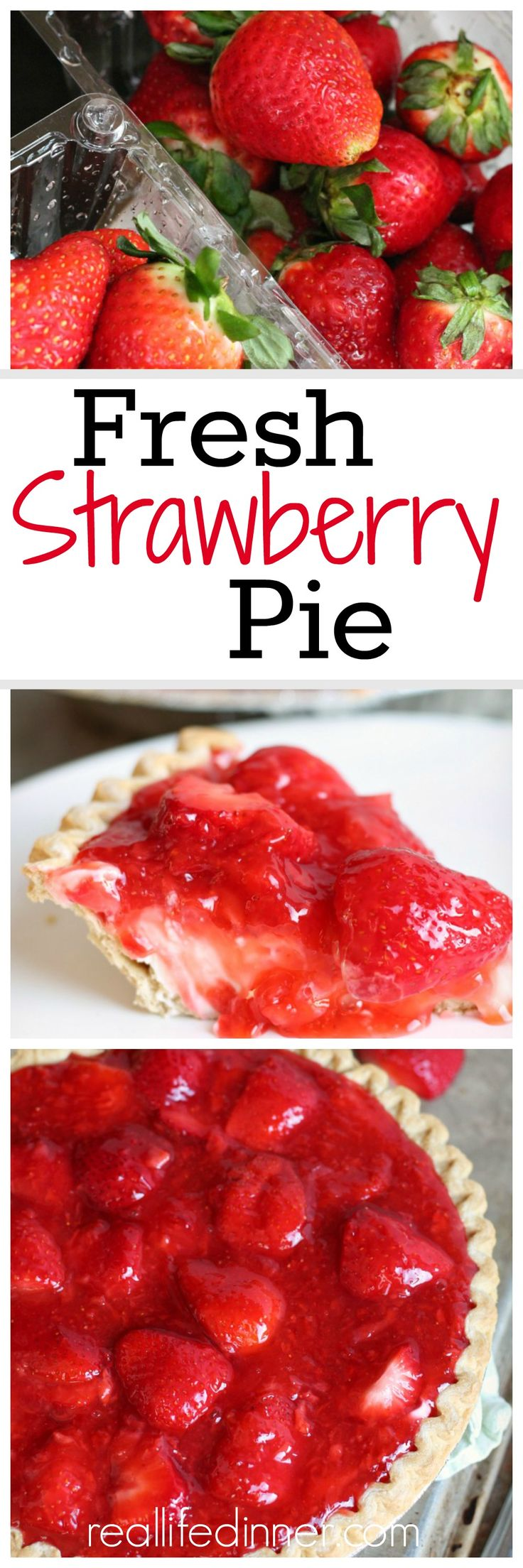This is like no other Fresh Strawberry Pie I've ever had. It is perfect! So Fresh and Delicious with a fantastic layer of creamy no-bake cheesecake goodness. ~ http://reallifedinner.com