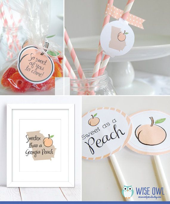INSTANT DOWNLOAD printable party kit, Georgia Peach baby shower party printables, pdf
