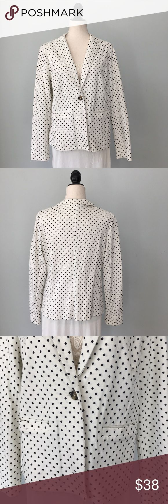 Boden cotton Polka Dot Blazer Excellent condition double knit, Boden ivory Blazer with black Polka dots, 99% cotton, size 18UK, 14 US. Hip pockets and 1 button front closure. Boden Jackets & Coats Blazers