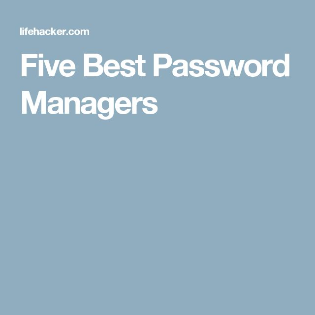 Five Best Password Managers