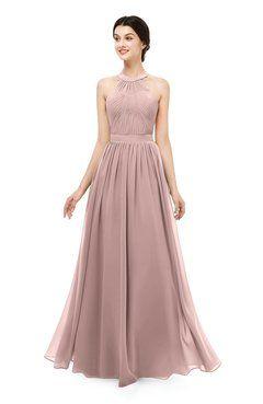 e688124f93ff ColsBM Marley Blush Pink Bridesmaid Dresses Floor Length Illusion  Sleeveless Ruching Romantic A-line