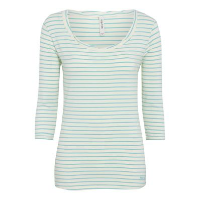 Edie Striped Long Sleeve Top A sweet 3/4 sleeve striped t shirt, in a very soft cotton, modal, elastane mix. Twisted detail neckline and turn up sleeves make this an above average layering top.
