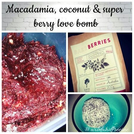 Macadamia, Coconut and super berry love bomb  Jam packed with delicious, nutritious, raw goodness #wild #free #raw @bareblends #vegan #desert  #refinedsugarfree #blissballs #clean #fuel #superfood #berry #coconut #wildandfreeinc