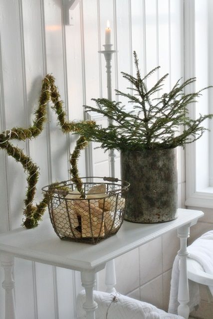 Put a spruce tip in one of my bronze buckets, then pinecones in one of my wire baskets and put on the table in the entry.