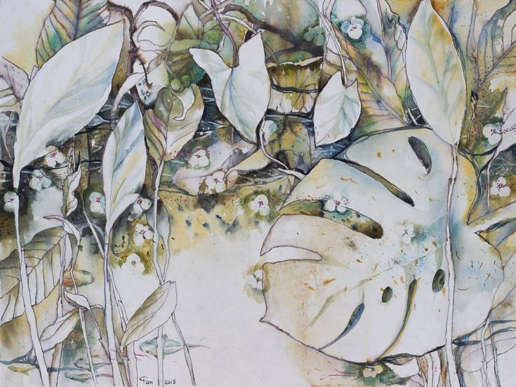 # watercolor # ink # water # stone # ecoprint # plant # garden #