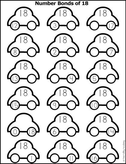 Free math printable.  Number Bonds of 18 colouring worksheet with a car theme.