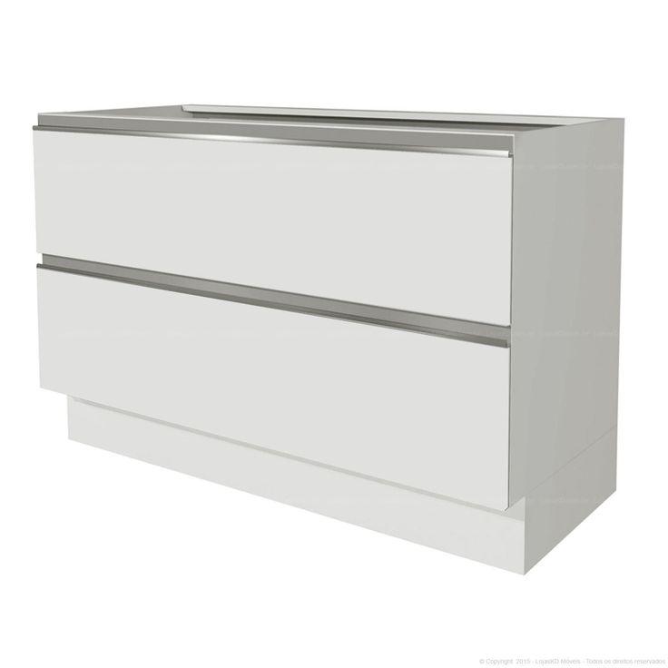 Balcão 2 Portas Basculantes Sem Tampo 100% MDF Branco - Glamy | Lojas KD